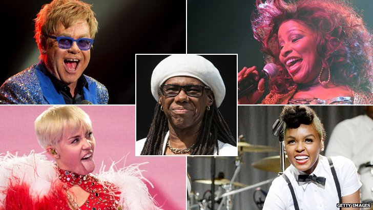 Elton John, Miley Cyrus, Nile Rodgers, Chaka Khan, Janelle Monae
