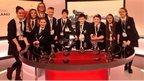 Nine pupils at BBC Scotland Pacific Quay news studio.