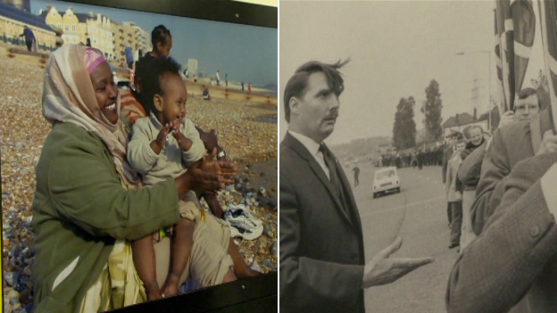 Somali migrants on the beach; an anti immigration march in the 1960s