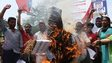 Activists of the Communists Party of India (CPI) burn an effigy representing the rapists convicted in the 2012 gang rape, in Hyderabad, March 6