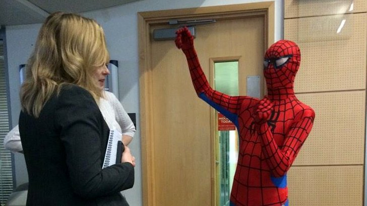 Spiderman in the BBC Birmingham newsroom