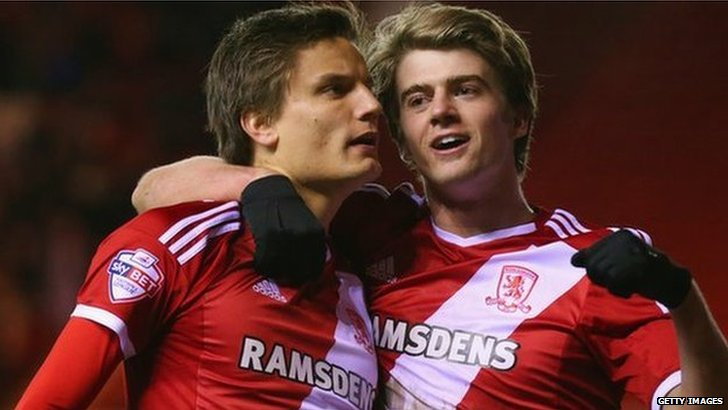 Middlesbrough's Jelle Vossen (left) and Patrick Bamford