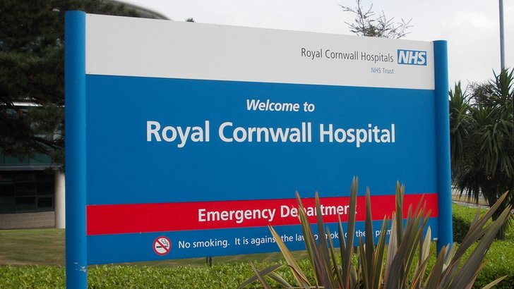 Royal Cornwall Hospital Emergency Department sign