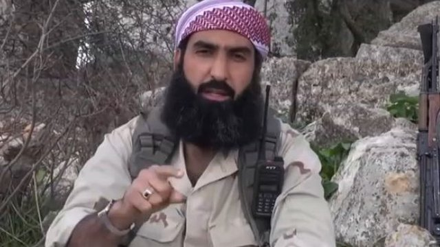 A screen grab of Abu Homam al-Shami taken from an al-Nusra Front video made in March 2014