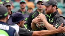 Paul Stirling enjoys a game of rugby during a training session in Hobart
