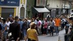 Long queue outside Caracas supermarket