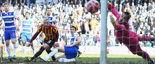 Adam Federici watches on as Gary Liddle's shot hits a post