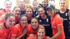 England celebrate Charlotte Edwards's 200th game as captain