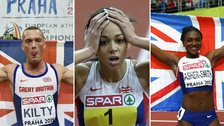 (Left to right) Richard Kilty, Katarina Johnson-Thompson, Dina Asher-Smith