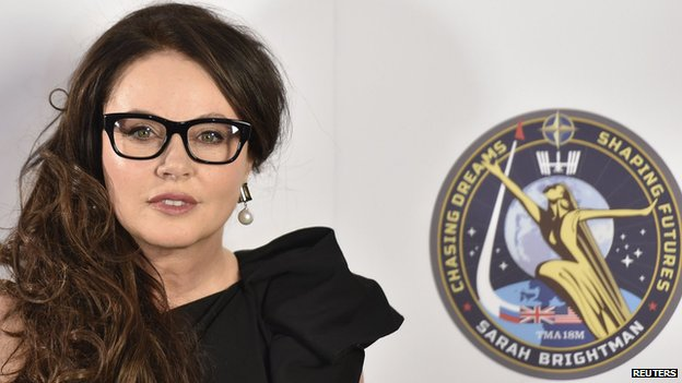 Sarah Brightman with her space patch