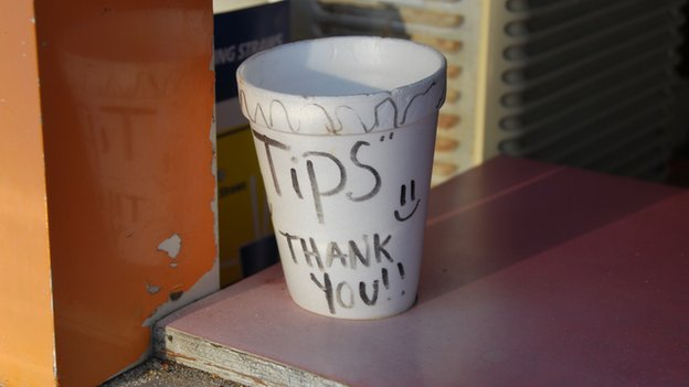 Tips pot in cafe