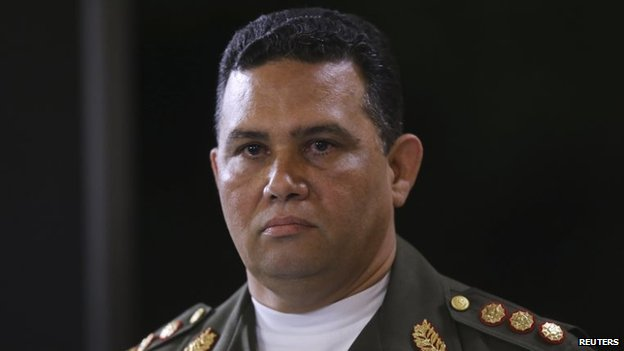 General Gustavo Gonzalez during a national TV broadcast in Caracas on 9 March 2015