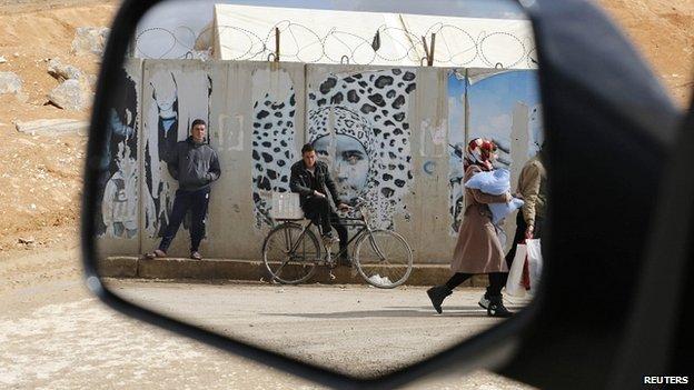 Rearview mirror. Refugee camp in Jordan