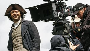 Aiden Turner behind the scenes on Poldark