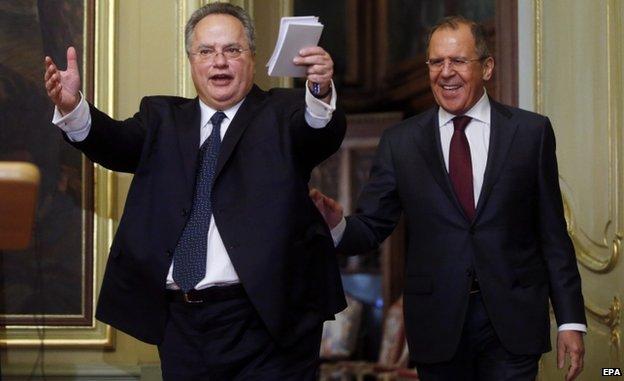Greek Foreign Minister Foreign Minister Nikos Kotzias (L) with Sergei Lavrov