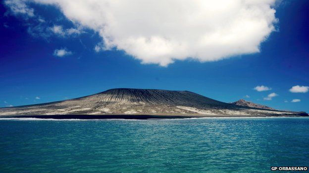 New island formed in the South Pacific. Image by GP Orbassano, via BBC.