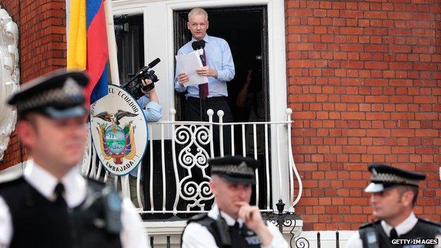 Julian Assange gives a speech from a balcony at the Ecuadorean embassy, August 2012