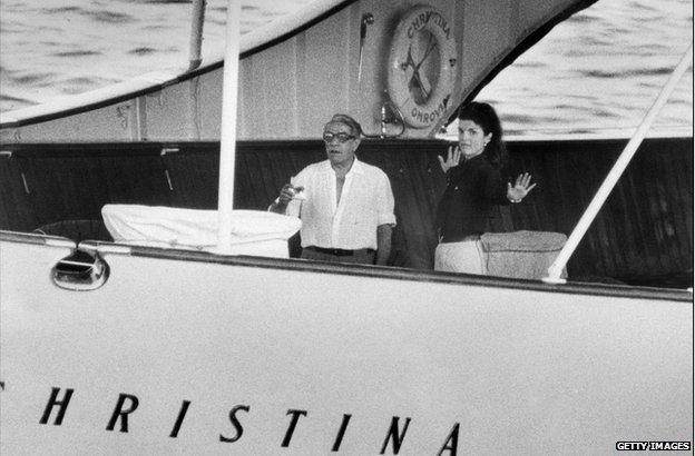 Aristotle Onassis and Jacqueline Onassis-Kennedy on board Christina, 1969