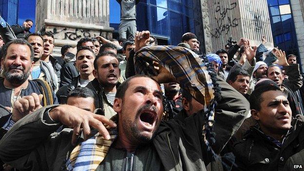 Protesta al Cairo contro l'uccisione di copti in Libia. 13 Feb 2015