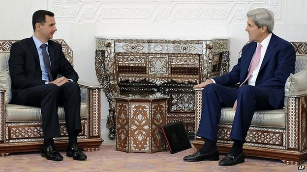 Syrian President Bashar al-Assad meets with US Secretary of State John Kerry in Damascus, Syria - 1 April 2010