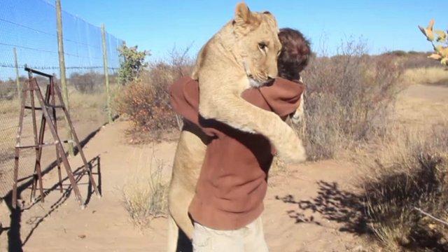 How Sirga gives Gruener a very big hug