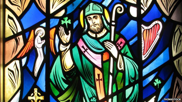 Stained glass window of St Patrick
