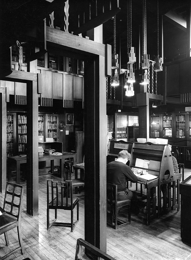 Archive image of the library in the Glasgow School of Art