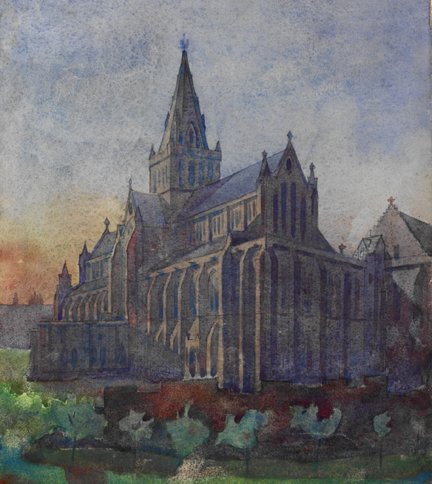 Watercolour of Glasgow Cathedral by Charles Rennie Mackintosh