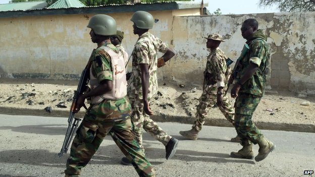 Nigerian soldiers in Goniri, Yobe state. Photo: 16 March 2015