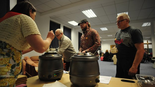 Queuing for the soup