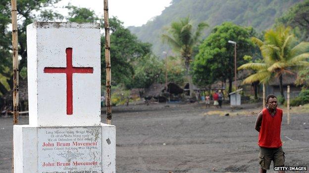 Village beneath Vanuatu's Mount Yasur volcano