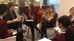 The head of the BBC's visual journalism unit Amanda Farnsworth talks to the students