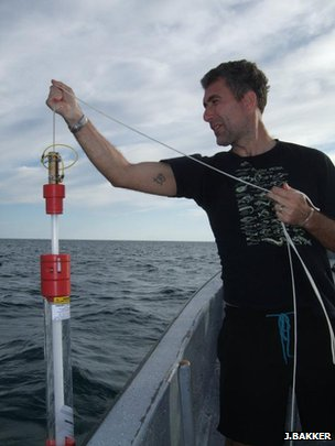 Prof Stefano Mariani collecting a sample of seawater (Image: Judith Bakker)