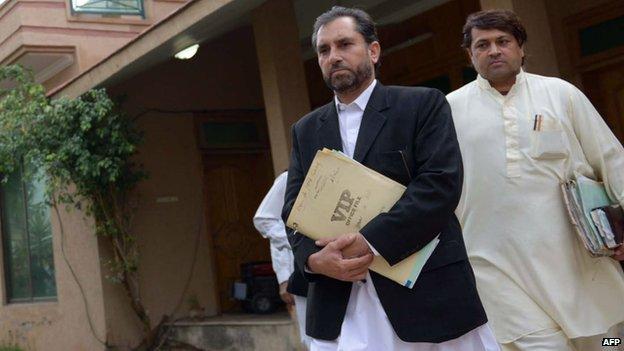 Samiullah Afridi at a hearing in Peshawar in 2013