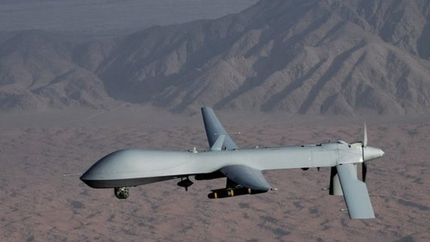 An MQ-1 Predator unmanned aircraft - it is not clear what model has been shot down