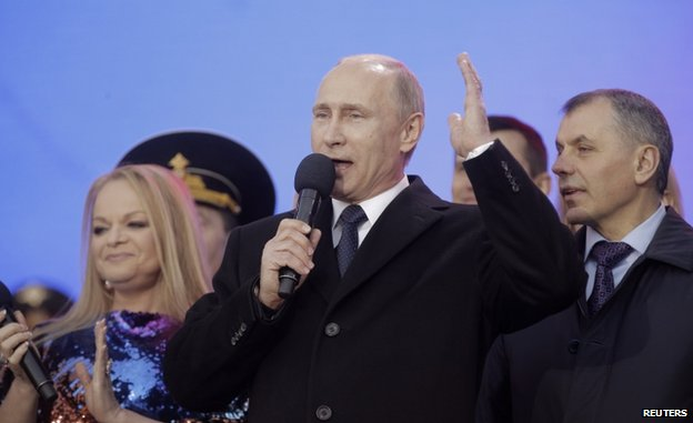 Russian President Vladimir Putin addresses crowd at Kremlin (18 March)