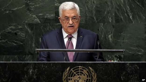 Palestinian President Mahmoud Abbas addresses the 69th session of the United Nations General Assembly at UN headquarters 26 September 2014