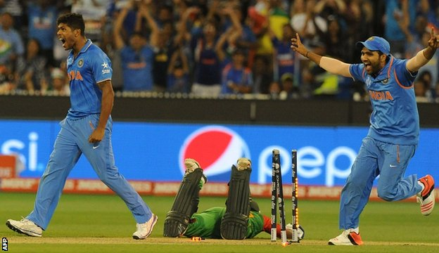 Bbc sport india beat bangladesh to reach cricket world for Farcical run out