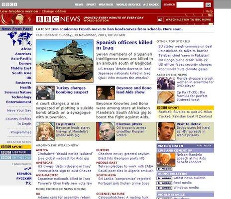 BBC News site in 2003