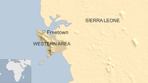 Map of Sierra Leone, Freetown and the Western Area
