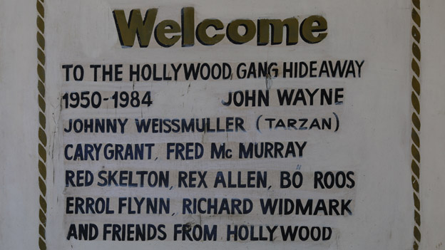 A sign listing the Hollywood stars who visited Acapulco over the decades