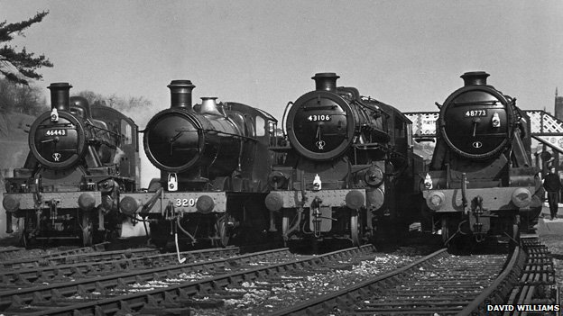 Locomotives at Bridgnorth station in 1969