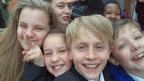 Students at Wrenn School, Northamptonshire take a selfie