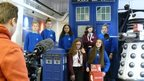 Students at the Doctor Who set