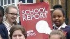 Students at Bullers Wood School, Bromley, stand outside their school building for a photo