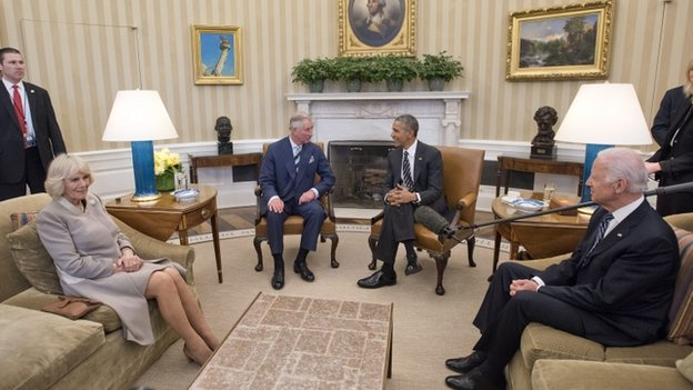 Prince Charles meets Barack Obama at the White House