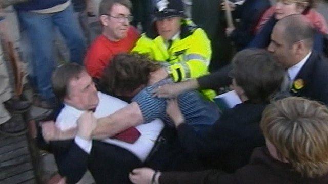 John Prescott grapples with a protester