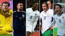 Gareth Bale, Steven Fletcher, Danny Welbeck, Jon Walters, Kyle Lafferty