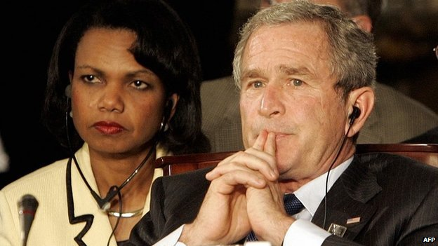 Former US President George W Bush with former US Secretary of State Condoleezza Rice