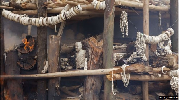 Jewellery and artefacts made of ivory are burnt outside of Addis Ababa